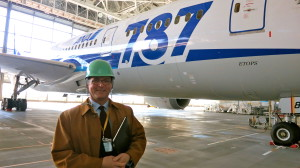 Chris McGinnis inspecting ANA's maintenance hangar at Haneda Airport on the day before the 787 was grounded. (Photo: Chris McGinnis)