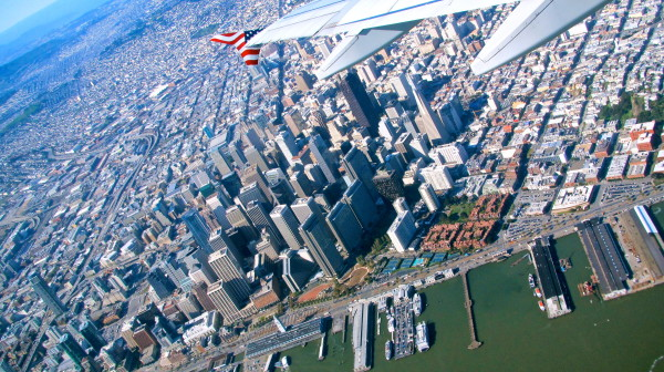 Virgin America wingtip over downtown San Francisco (Photo: Chris McGinnis)