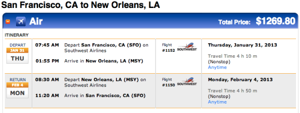 Southwest nonstops between SFO and New Orleans. Get /em while they are hot! They will not last.