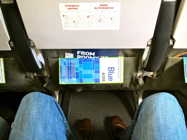 "Knee room in an ""Even More Space"" seat on a recent JetBlue flight SFO-BAS. (Photo: Chris McGinnis)"