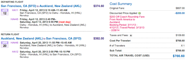 Screenshot of Hawaiian Air booking