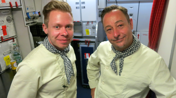 SAS light attendants change into chef outfits when serving dinner (Photo: Chris McGinnis)