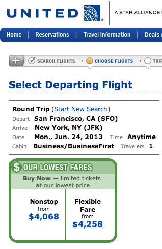 Whoa! Check out those biz class fares to NYC!