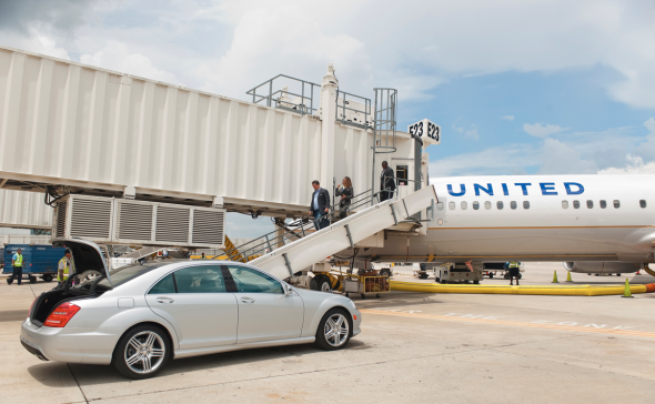 United has deployed two silver Mercedes at Houston IAH to shuttle arriving passengers. (Photo: United)