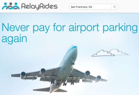 RelayRides come-on to SFO travelers-- avoid airport parking fees, get a free car wash.