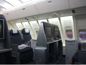 Upstairs in biz class on United's 747 (Transworld Productions)