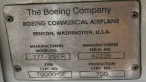 The Boeing name plate inside the front door of a brand new 777-300-ER (Chris McGinnis)