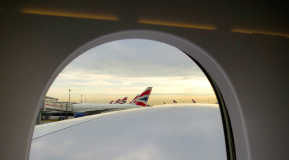 View over the A380's enormous wing from main deck business class (Chris McGinnis)