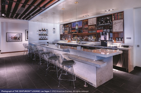 Here's a shot of the bar at the Las Vegas Centurion lounge