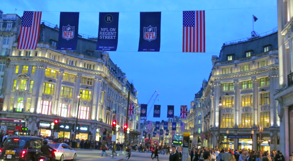 London's Regent Street decked out in US flags and NFL banners amid rumors of a possible London NFL team. (Photo Chris McGinnis)