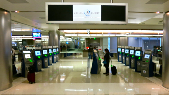 Check out this wall of Global Entry kiosks at the new international terminal at LAX. 13 in all! I was through customs in 3 minutes! (Chris McGinnis)