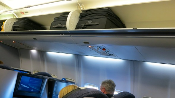 Disappointing that overhead bin space is still quite tight...no change from the older version of p.s.