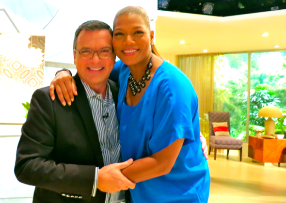 Chris McGinnis and Queen Latifah on the Queen Latifah Show set in Los Angeles