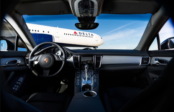 Delta 360 members are likely the ones getting views like this (from a Porsche on the tarmac) (Photo: Delta)