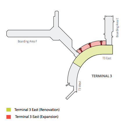 The expansion of the corridor connecting E to F is where a new United Club will be located