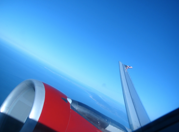Looking out on a sunny day aboard Virgin America (Chris McGinnis)