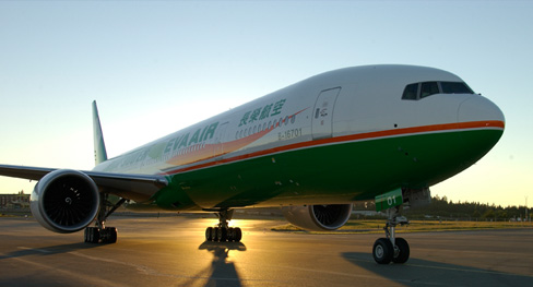 Shiny new EVA Air 777-300ER flies SFO-TPE (Photo EVA Air)