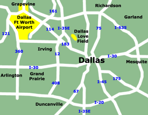 Check out close-in, cuddly Dallas Love Field compared to distant DFW (AllAirports.net)