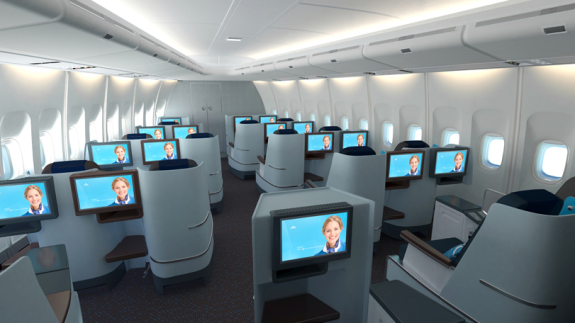 Business class up in the nose of a Boeing 747-400- coming to SFO this month! (Photo: KLM)