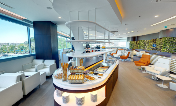The swank new SkyTeam Lounge at Istanbul (Click on photo for 360 degree tour!)
