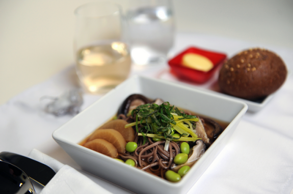 Soba noodles with lemongrass shiitake broth on the menu up front on Virgin America