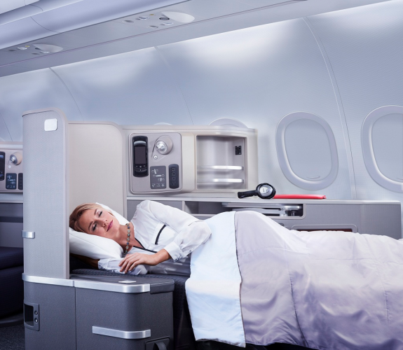 American Airlines offers the only lie-flat first class bed on SFO-JFK (Photo: AA)