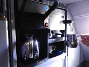 The A321T has a built-in espresso cappuccino maker-- for first class only (Photo: Nancy Branka)