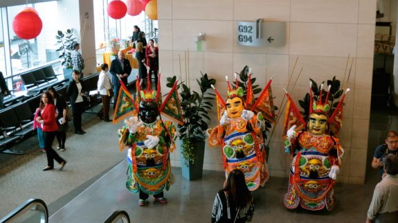 A festive scene greeted those departing on Saturday's inaugural United nonstop to Taipei.  (Photo: Chris McGinnis)