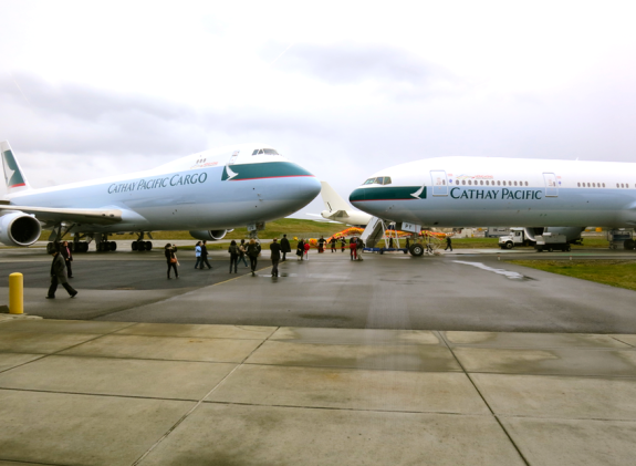 Brand new Cathay Pacific 747-8 freighter and B777-300 at Boeing factory in Seattle (Chris McGinnis)