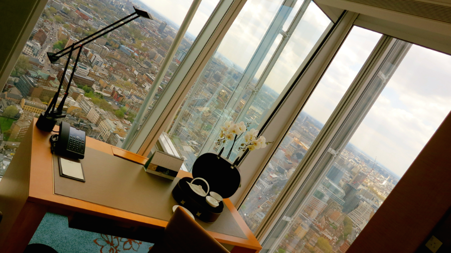 Check out the view from a desk in a room a London's newest hotel. See below for details (Photo: Chris McGinnis)
