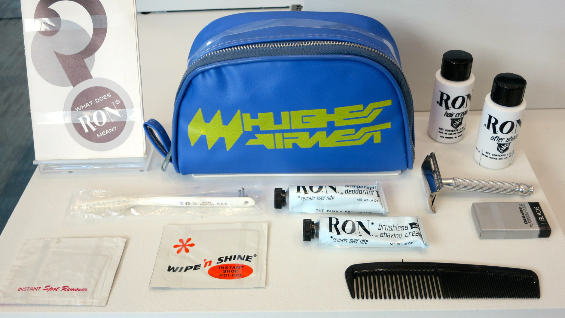 From now defunct Hughes Airwest. Check out the bottle of haircream and tube of deodorant! (Photo: Chris McGinnis)