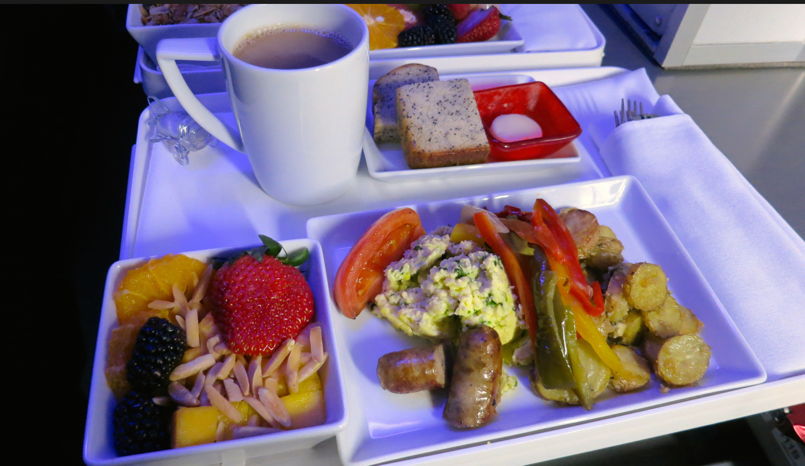 This is the hearty eggs & sausage option on Virgin America (Photo: Chris McGinnis)