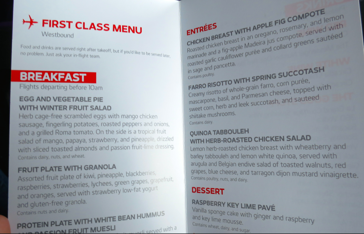 A fine dining menu is one of Virgin's primary weapons in the transcon wars (Photo: Chris McGinnis)