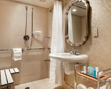 An ADA compliant bathroom at the Hilton Westchester (Photo: Hilton)