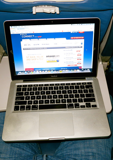 Inflight wi-fi is getter faster...but very slowly (Photo: Chris McGinnis)