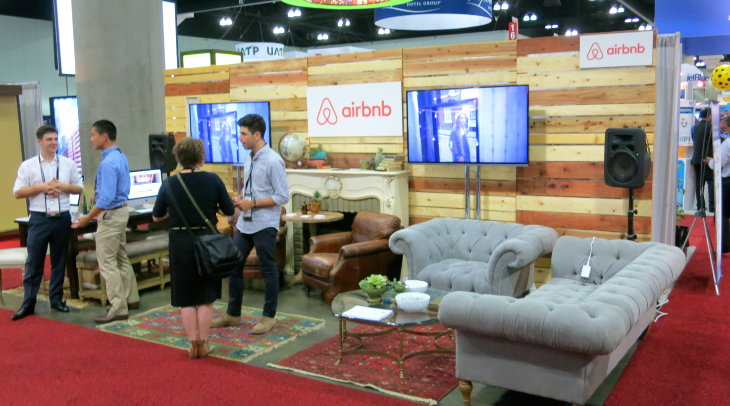 Airbnb was at GBTA for the first time with a cool hipster like lounge booth (Chris McGinnis)