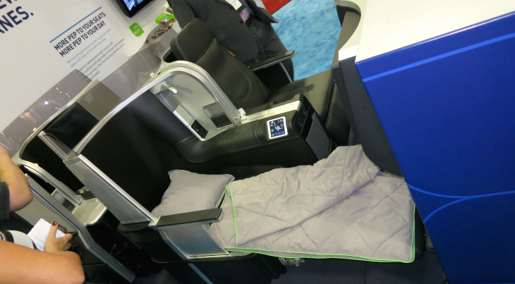 "Here's JetBlue's new ""MINT"" class seat now appearing on its LAX-JFK transcons (Chris McGinnis)"