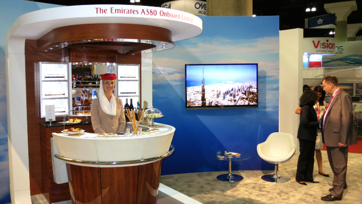 Emirates did not have a seat on display, but had a mock up of its inflight lounge aboard its A380s. (Chris McGinnis)
