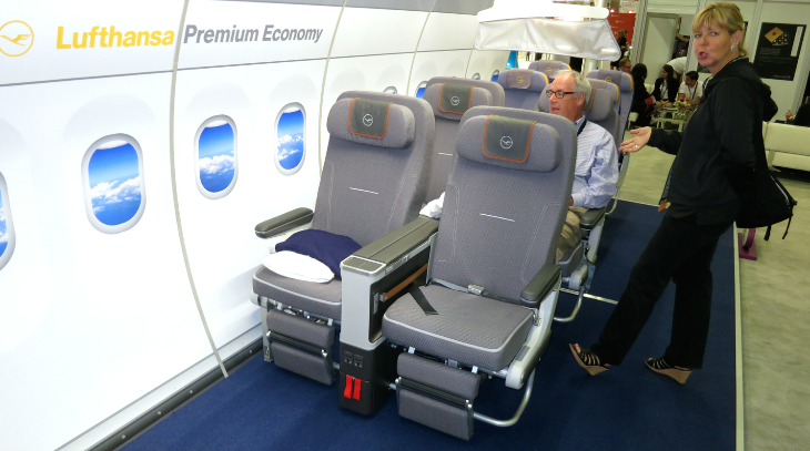 Lufthansa was showing off it's new premium economy seat (Chris McGinnis)