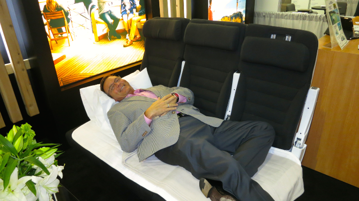 After a long day at the GBTA show, I needed a nap on Air New Zealand's economy Sky Couch! (Chris McGinnis)