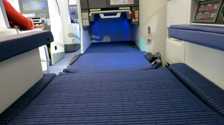 Talk about true lie flat in business class! Looks like Kansas! No tilt or angle at all (Chris McGinnis)
