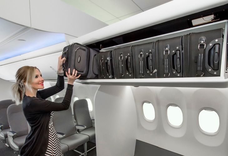 New Boeing bins allow Alaska Air travelers to pack em in sideways (Photo: Boeing)