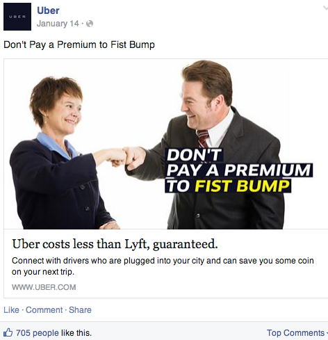 Uber's clever bashing of rival Lyft would disappear if the companies merged. (Facebook screenshot)