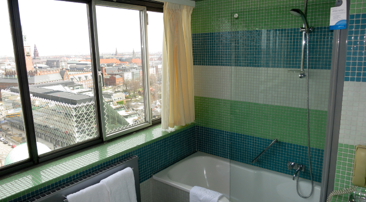 In Copenhagen! I usually prefer a walk in shower, but this tub shower with a view was pretty nice! (Chris McGinnis)