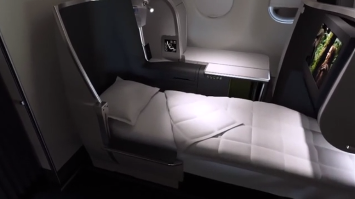 Mockup of Aer Lingus' new true lie flat business class seat coming in 2015 (Aer Lingus)