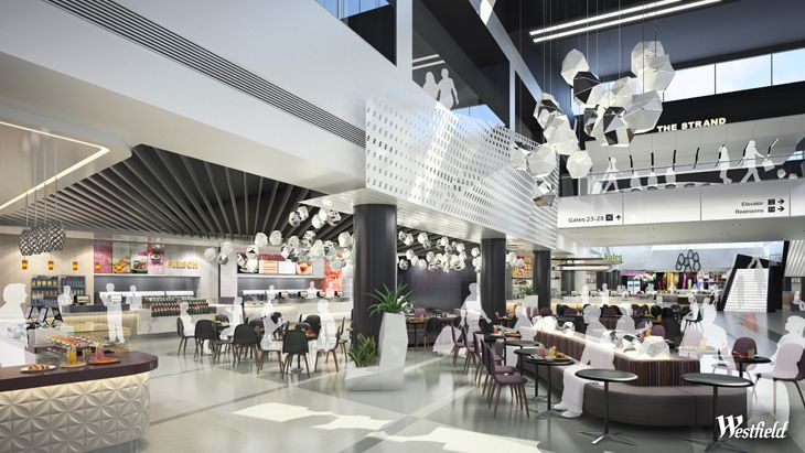Mock up of what the new dining terrace at LAX Terminal 2 will look like