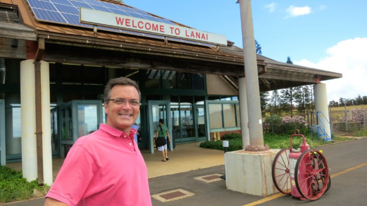 Arriving at Lanai's tiny airport