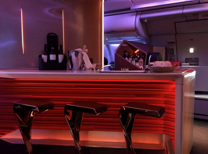 The Upper Class bar on a new Virgin Atlantic A330-300 (Photo: Tom Mascardo)