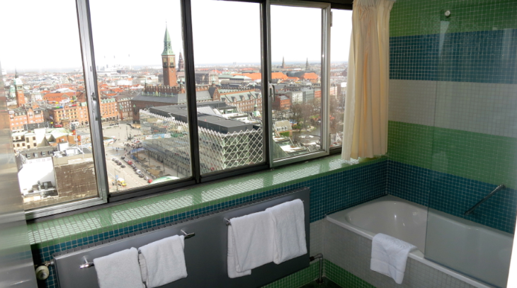 The gorgeous view from my bathroom at the fab mid century modern Radisson Blu Royal hotel (Photo: Chris McGinnis)