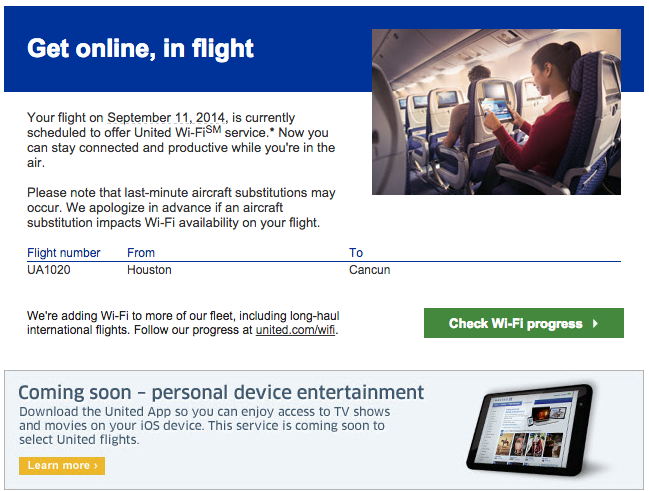 I was happy to get this alert from United telling me that I'd have wi-fi on my flight to Cancun